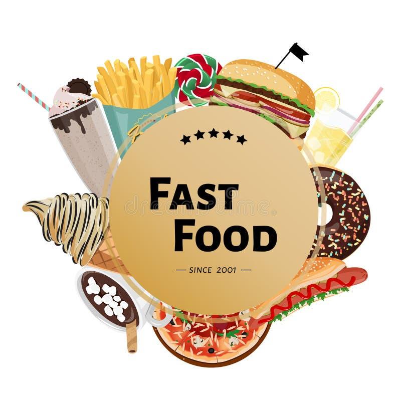 Ejemplo dibujado mano de los alimentos de preparaci?n r?pida del vector Plantilla del diseño para el café con la hamburguesa, piz stock de ilustración