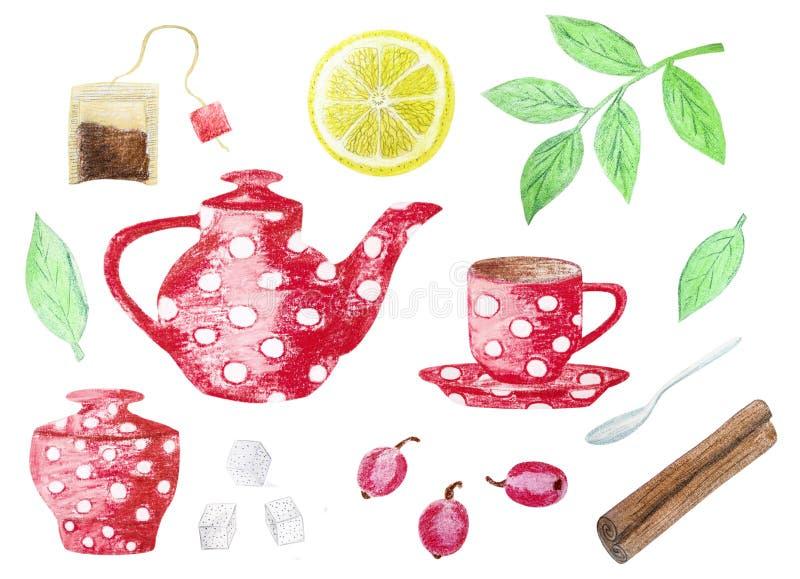 Ejemplo dibujado mano de los iconos del té stock de ilustración