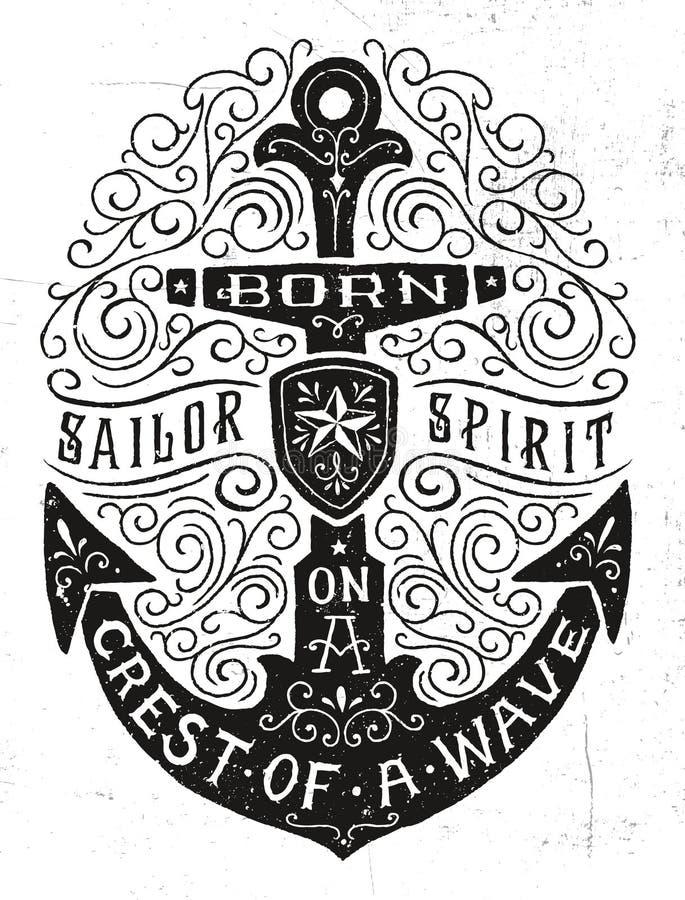 Ejemplo dibujado mano del ancla del Flourish del vintage stock de ilustración