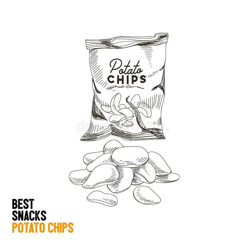 Ejemplo dibujado mano del bocado y de la comida basura del vector libre illustration