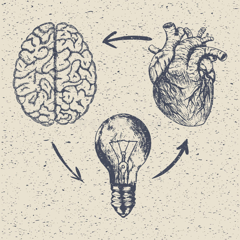 Ejemplo dibujado mano del bosquejo del vector - diseño creativo del cartel del vintage libre illustration