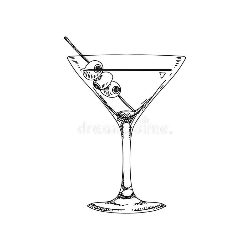 Ejemplo dibujado mano del coctail del vector libre illustration