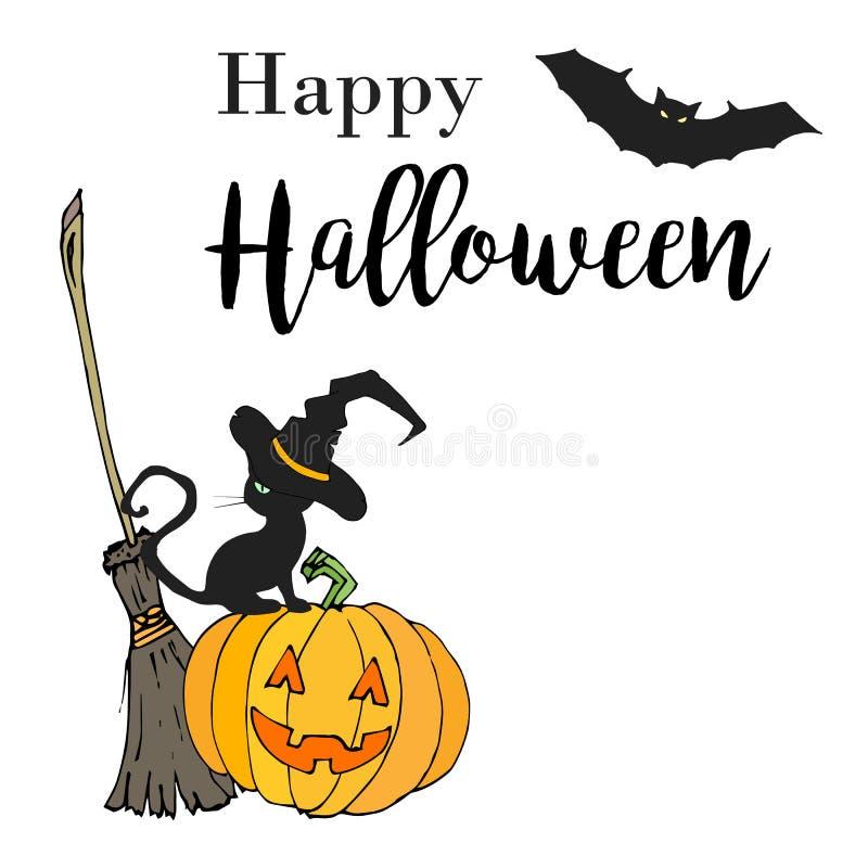 Ejemplo dibujado mano del feliz Halloween en estilo de la historieta Diseño para el cartel o el aviador del partido de Halloween  libre illustration