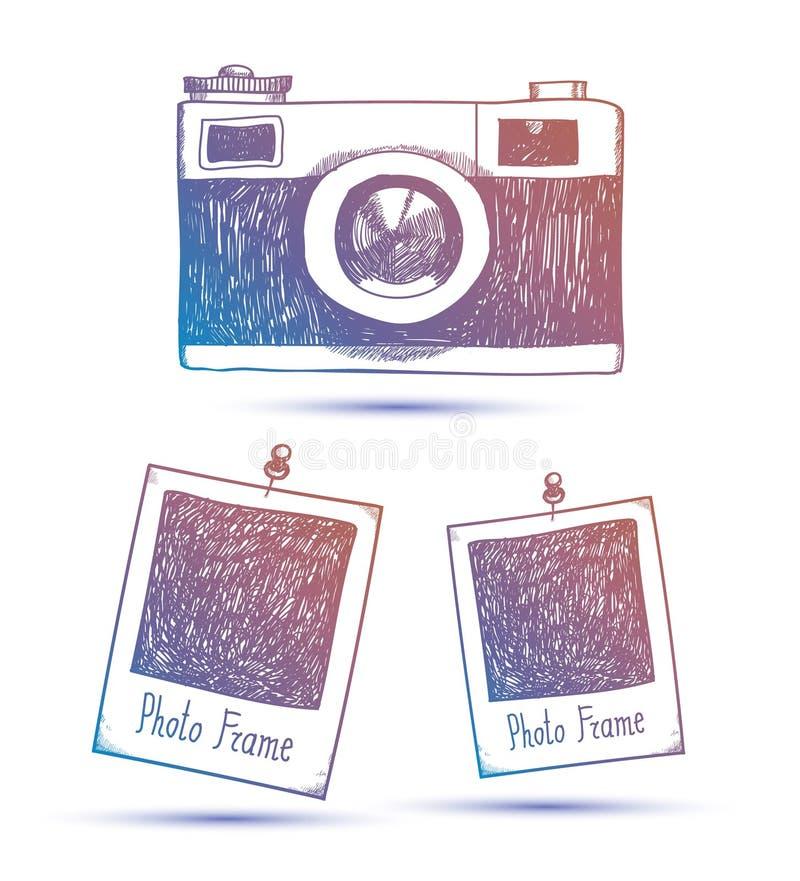 Ejemplo dibujado mano del garabato del vector de los bastidores y de la cámara retros de la foto libre illustration