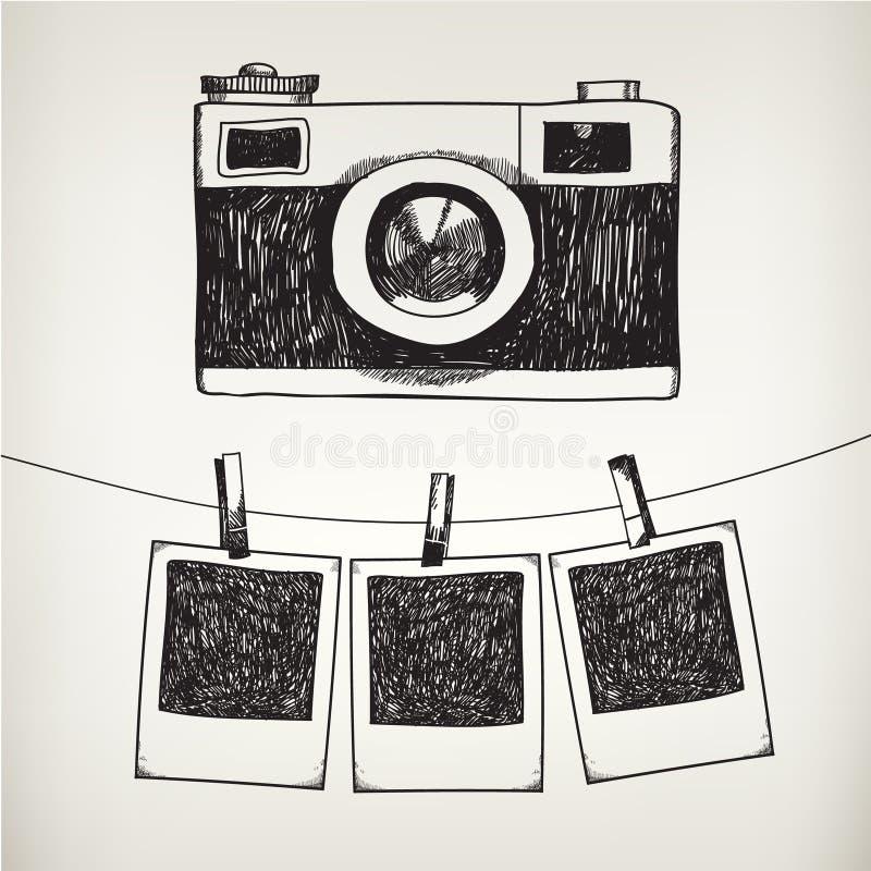Ejemplo dibujado mano del garabato del vector de retro stock de ilustración