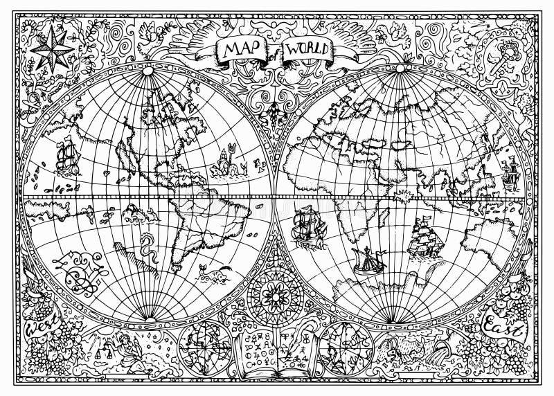Ejemplo dibujado mano del mapa antiguo del atlas del mundo con símbolos místicos ilustración del vector
