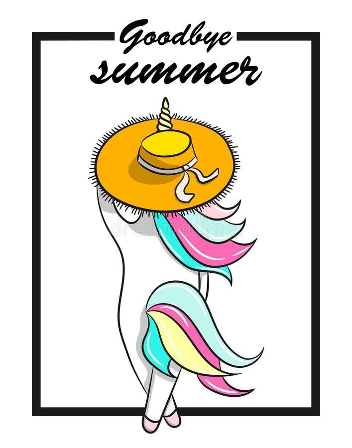 Ejemplo dibujado mano del unicornio mágico Adiós texto del verano Ilustración del vector stock de ilustración