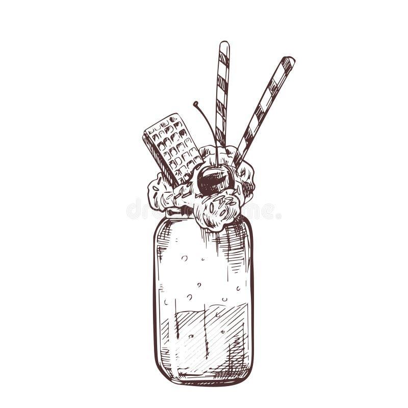 Ejemplo dibujado mano del vector del batido de leche del vector stock de ilustración
