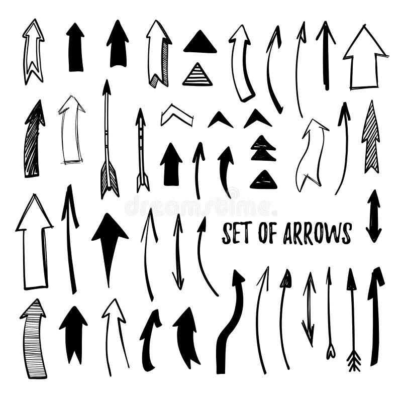 Ejemplo dibujado mano del vector - colección de la flecha bosquejo isola ilustración del vector