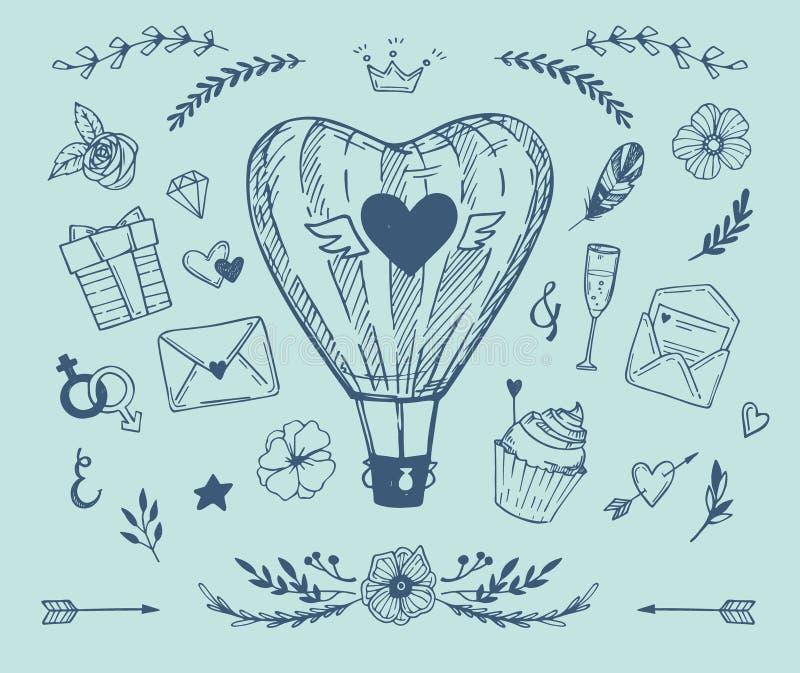 Ejemplo dibujado mano del vector - colección del amor ilustración del vector