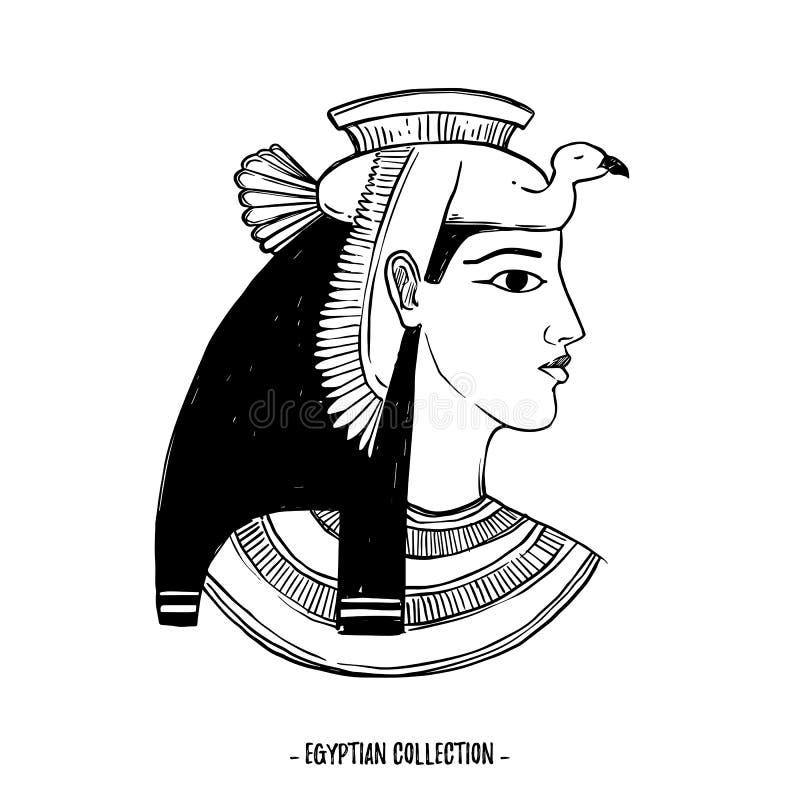 Ejemplo dibujado mano del vector - colección egipcia Dioses o stock de ilustración