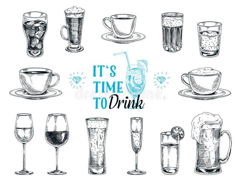 Ejemplo dibujado mano del vector con las bebidas ilustración del vector