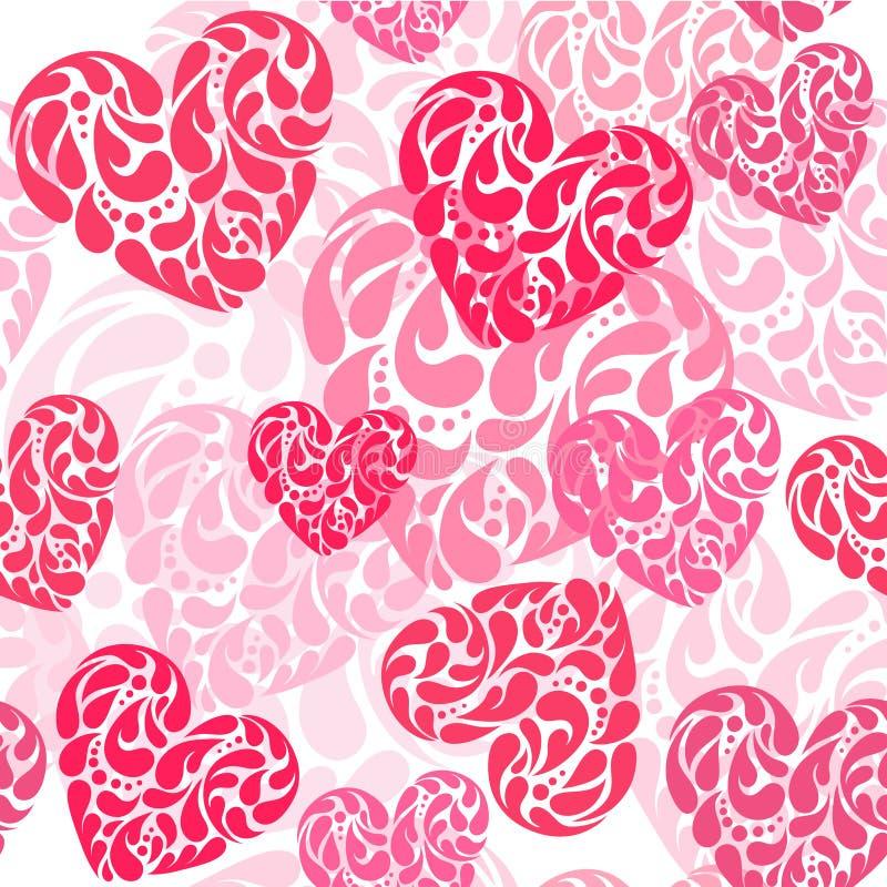 Ejemplo dibujado mano del vector - corazones decorativos Palmadita inconsútil libre illustration