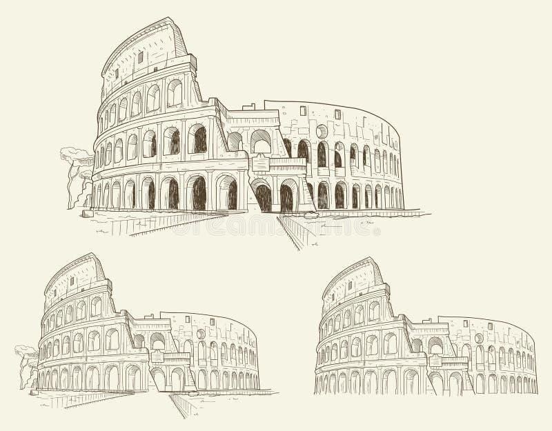 Ejemplo dibujado mano del vector de Colosseum aislado libre illustration