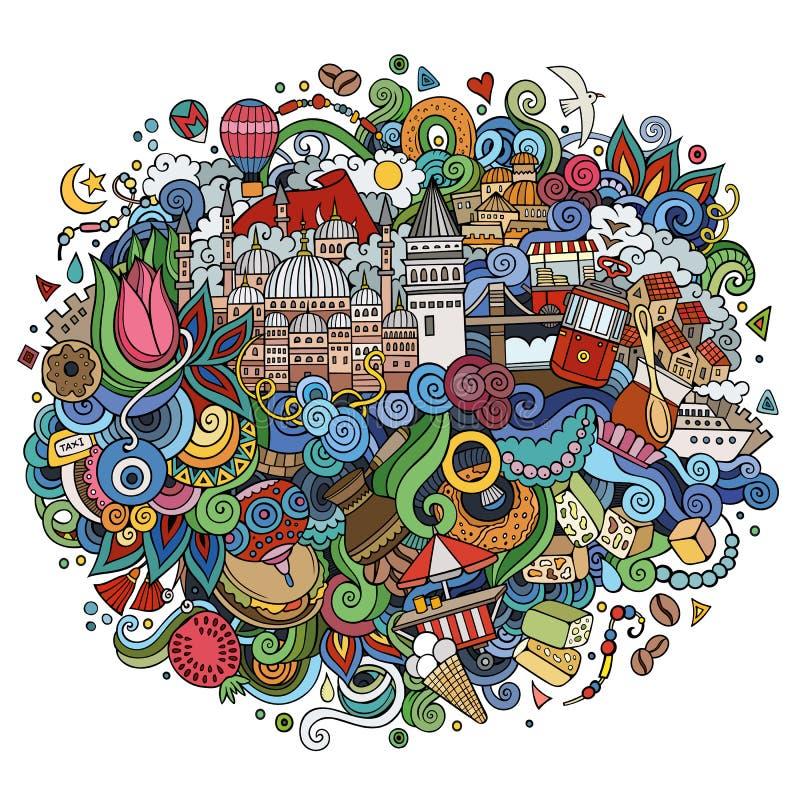 Ejemplo dibujado mano del vector de Estambul ilustración del vector