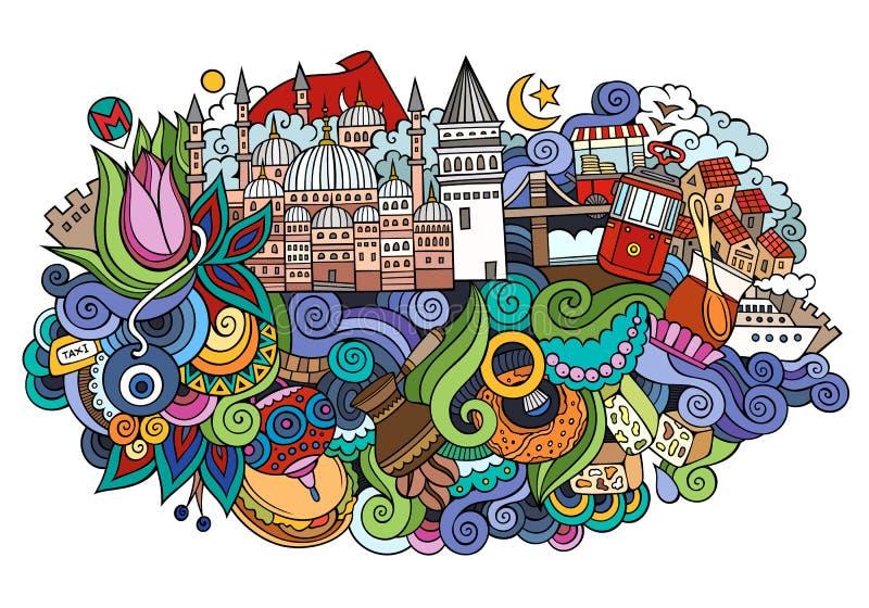 Ejemplo dibujado mano del vector de Estambul stock de ilustración