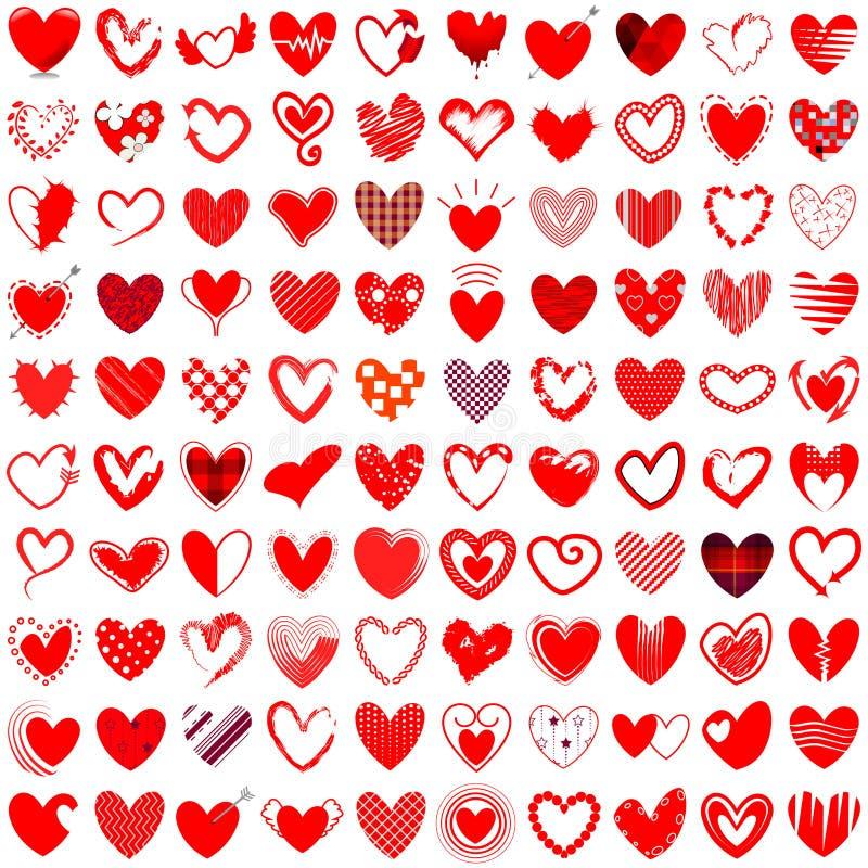 Ejemplo dibujado mano del vector de 100 iconos del corazón ilustración del vector