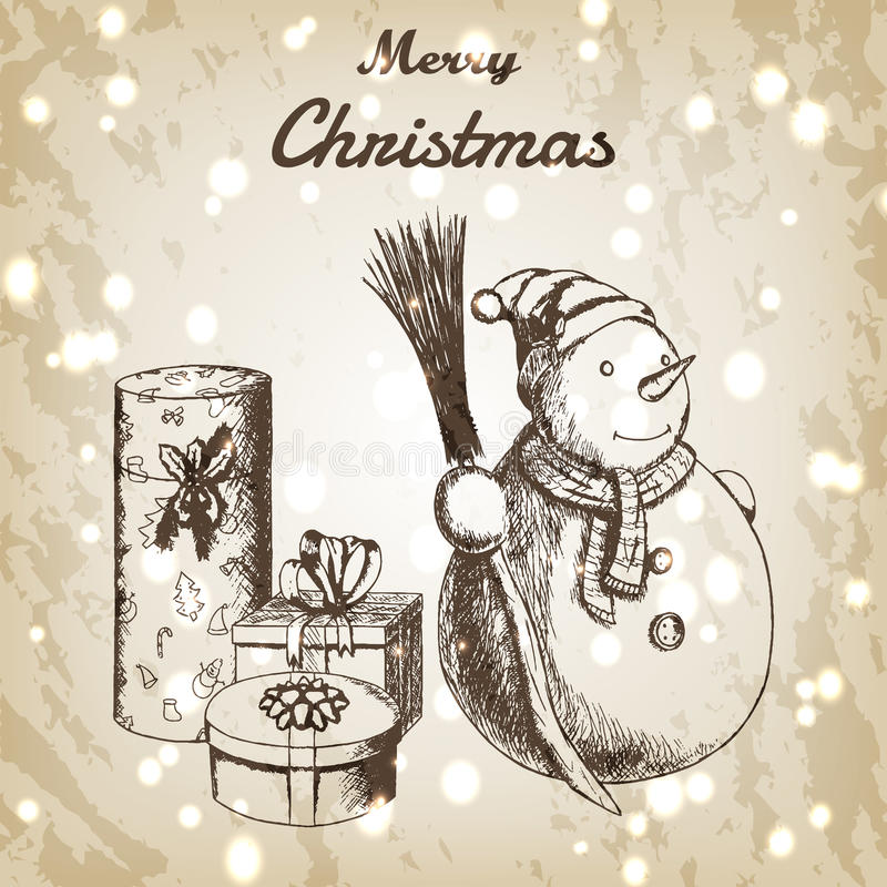 Ejemplo dibujado mano del vector de la Navidad o del Año Nuevo Muñeco de nieve en sombrero del invierno con el bosquejo de la esc stock de ilustración