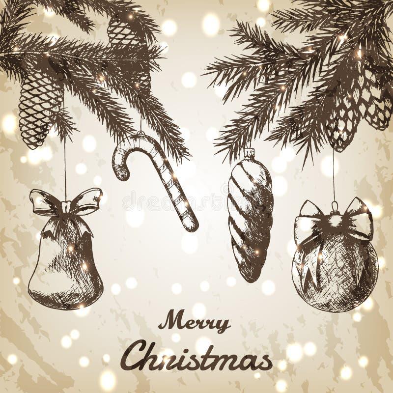 Ejemplo dibujado mano del vector de la Navidad - ornamentos, ramas y bosquejo decorativos de los conos del pino, estilo del vinta stock de ilustración