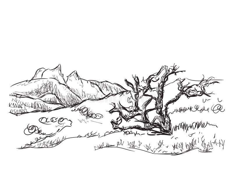 Ejemplo dibujado mano del vector de las montañas ilustración del vector