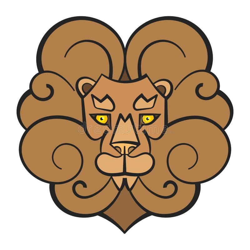 Ejemplo dibujado mano del vector de Lion Coloring Page For Kids stock de ilustración