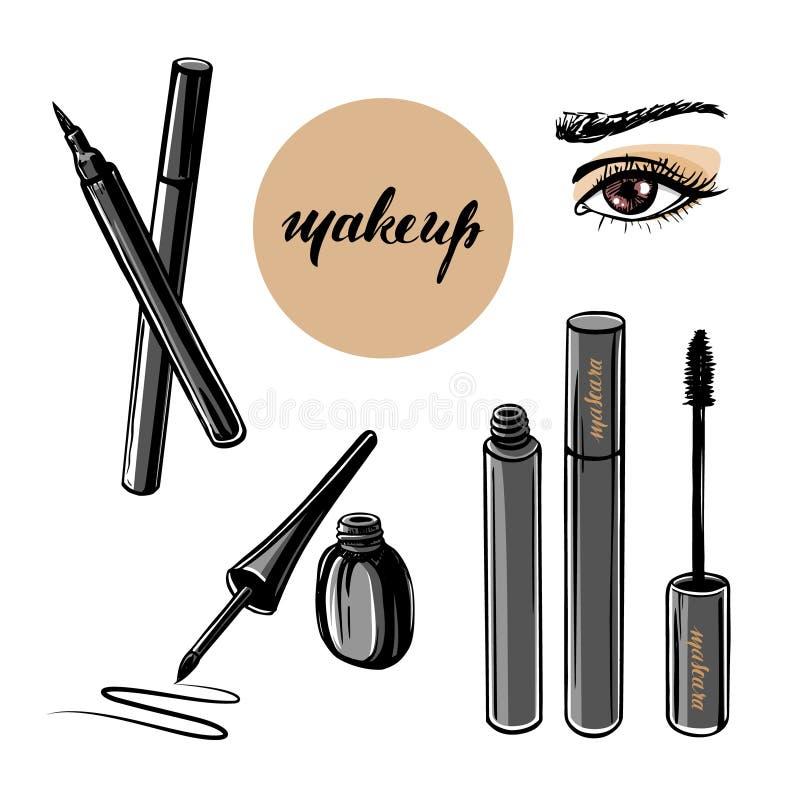 Ejemplo dibujado mano del vector de los elementos del ojo y del maquillaje de la mujer stock de ilustración