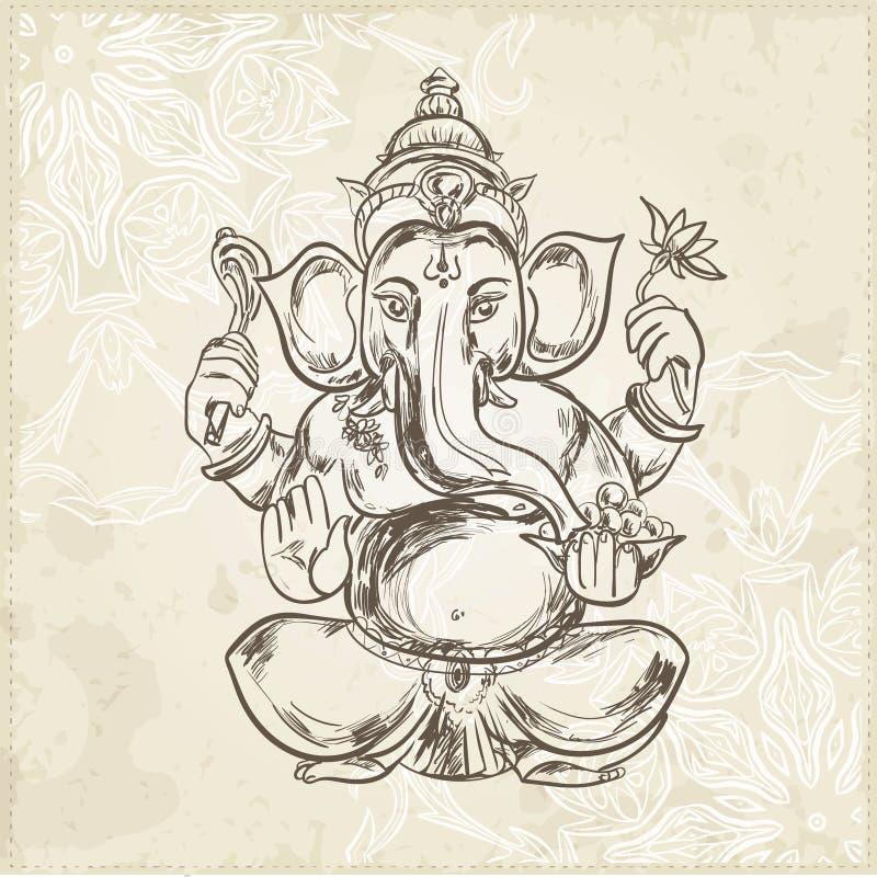 Ejemplo dibujado mano del vector de sentar a Lord Ganesha stock de ilustración