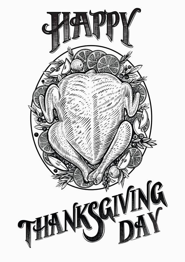 Ejemplo dibujado mano del vector de Turquía Tarjeta feliz del día de la acción de gracias libre illustration