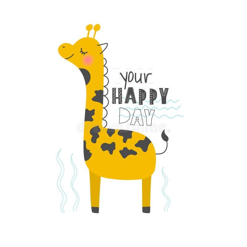Ejemplo dibujado mano del vector de una jirafa divertida linda con cita de las letras su día feliz Objetos aislados Estilo escand libre illustration
