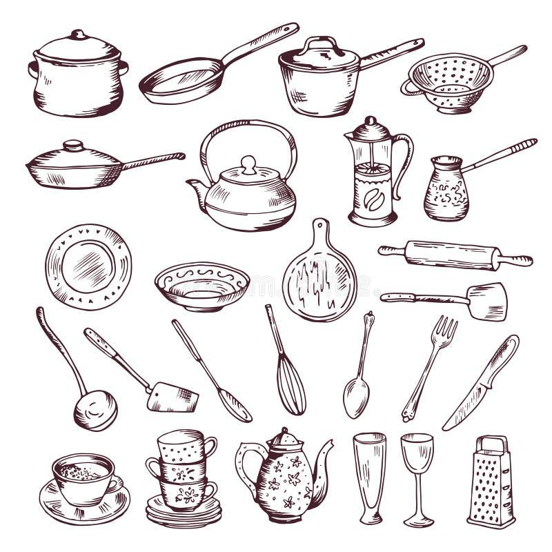 Ejemplo dibujado mano del vector del aislante de las herramientas de la cocina en el fondo blanco stock de ilustración