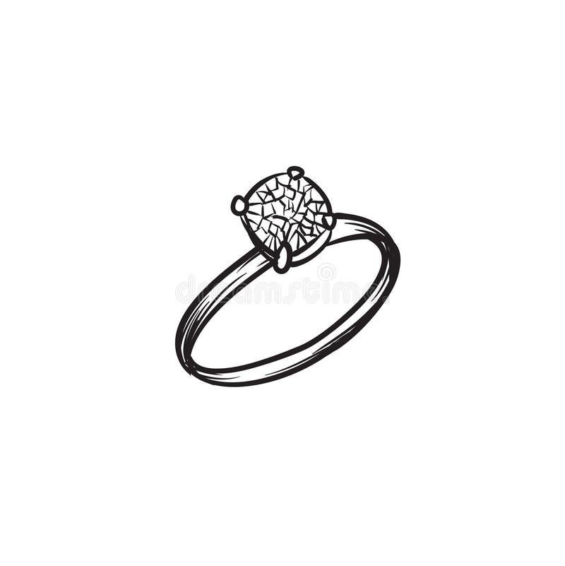 Ejemplo dibujado mano del vector del anillo de diamante libre illustration