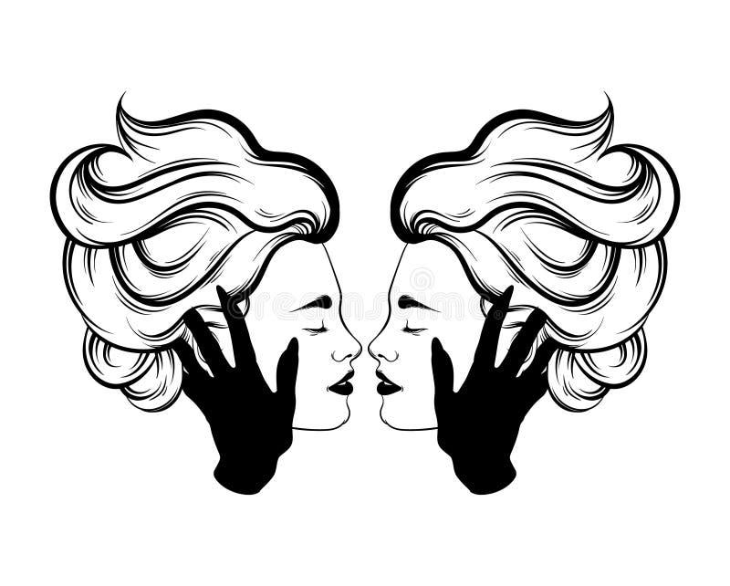 Ejemplo dibujado mano del vector del beso lesbiano stock de ilustración