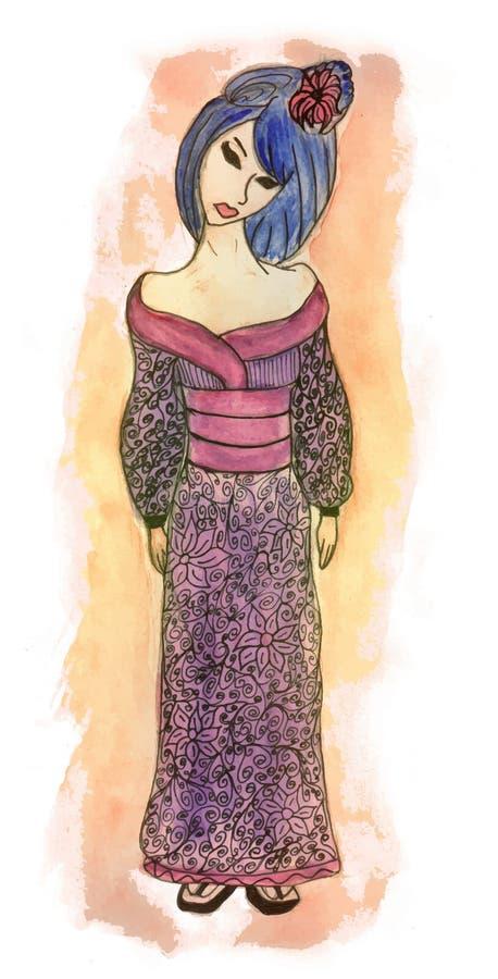 Ejemplo dibujado mano del vector del geisha libre illustration