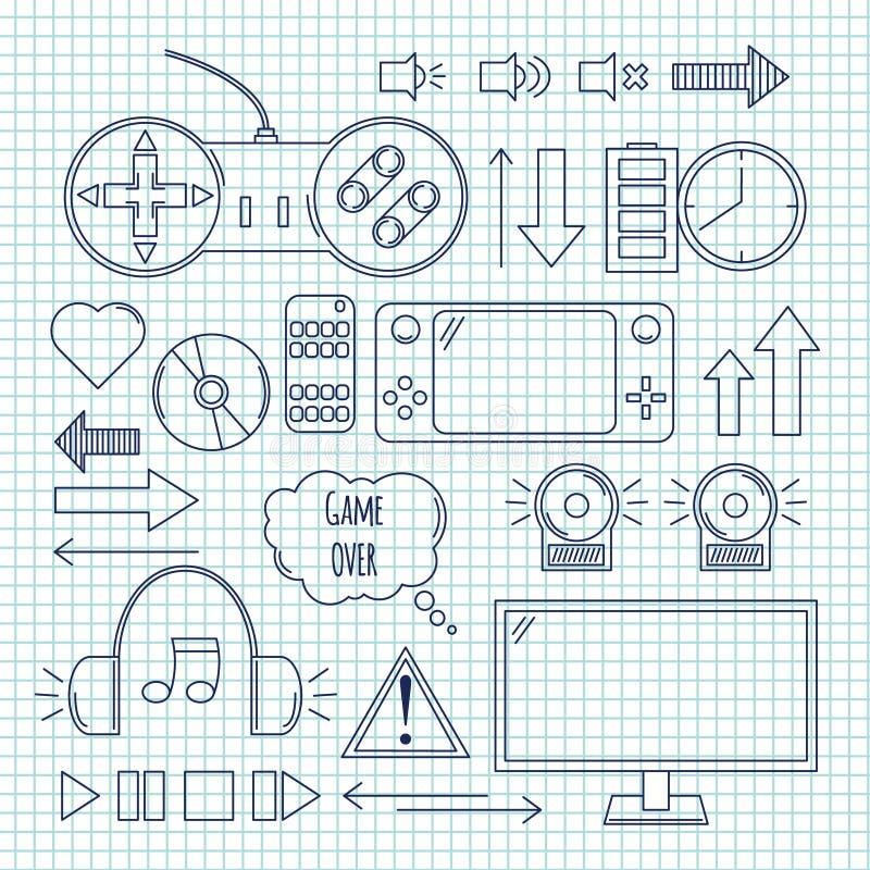Ejemplo dibujado mano del vector - juegos de ordenador Elementos del diseño stock de ilustración