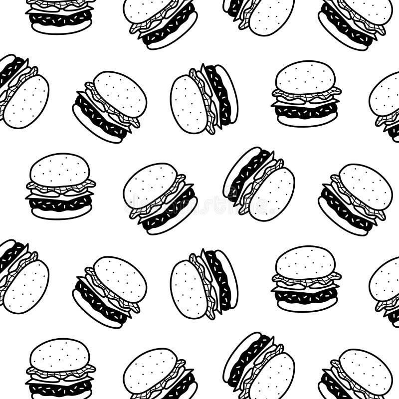 Ejemplo dibujado mano del vector del modelo de la hamburguesa Rebecca 36 Estilo de la historieta libre illustration