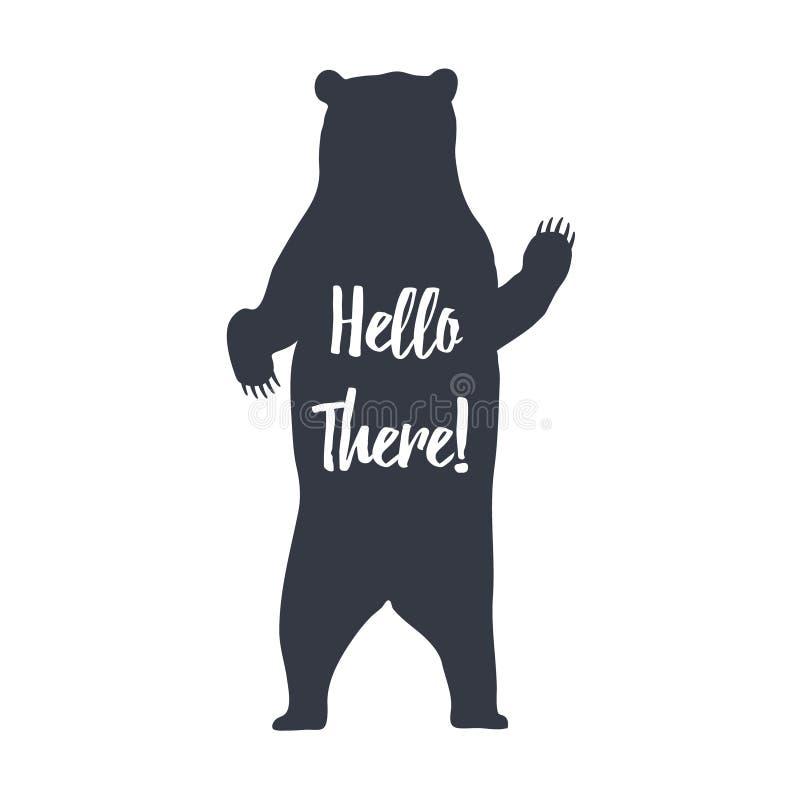 Ejemplo dibujado mano del vector del oso grizzly de la etiqueta y hola allí letras inspiradas ilustración del vector