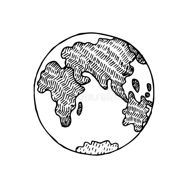 Ejemplo dibujado mano del vector del planeta de la tierra del bosquejo stock de ilustración
