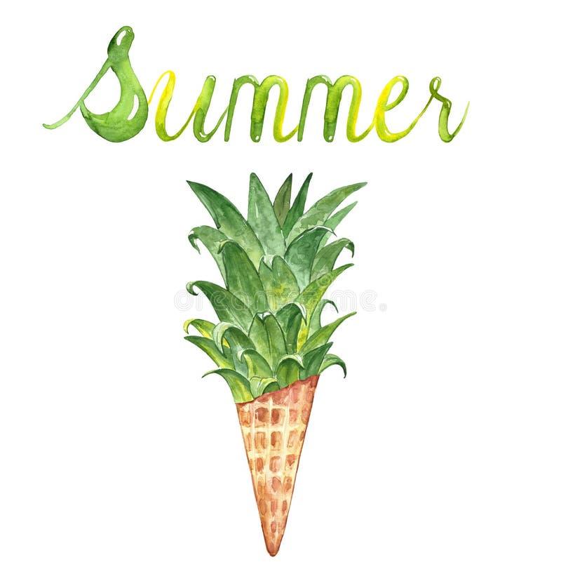 Ejemplo dibujado mano del verano del Watercolour con el cono de helado de la hoja y de la piña, aislado en el fondo blanco stock de ilustración
