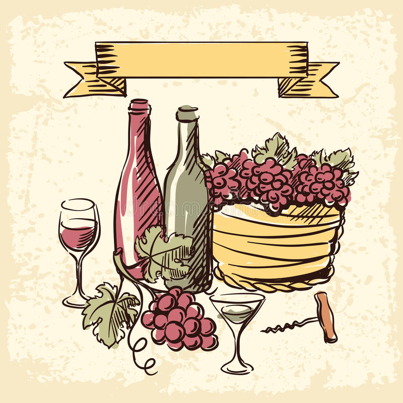 Ejemplo dibujado mano del vintage del vino libre illustration