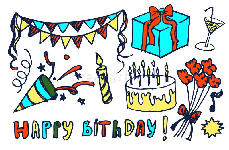 Ejemplo dibujado mano determinada del vector del feliz cumpleaños ilustración del vector