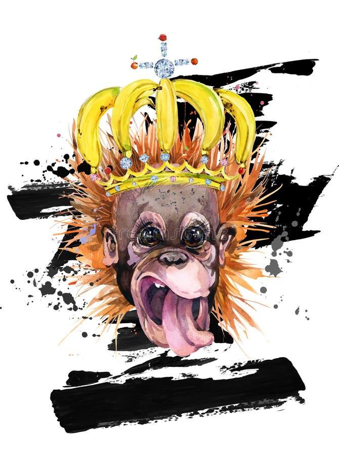 Ejemplo dibujado mano divertida de la acuarela del mono stock de ilustración
