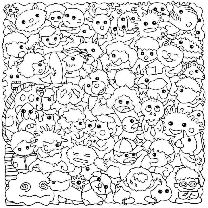 Ejemplo dibujado mano divertida del dibujo del vector del grupo animal del monstruo libre illustration