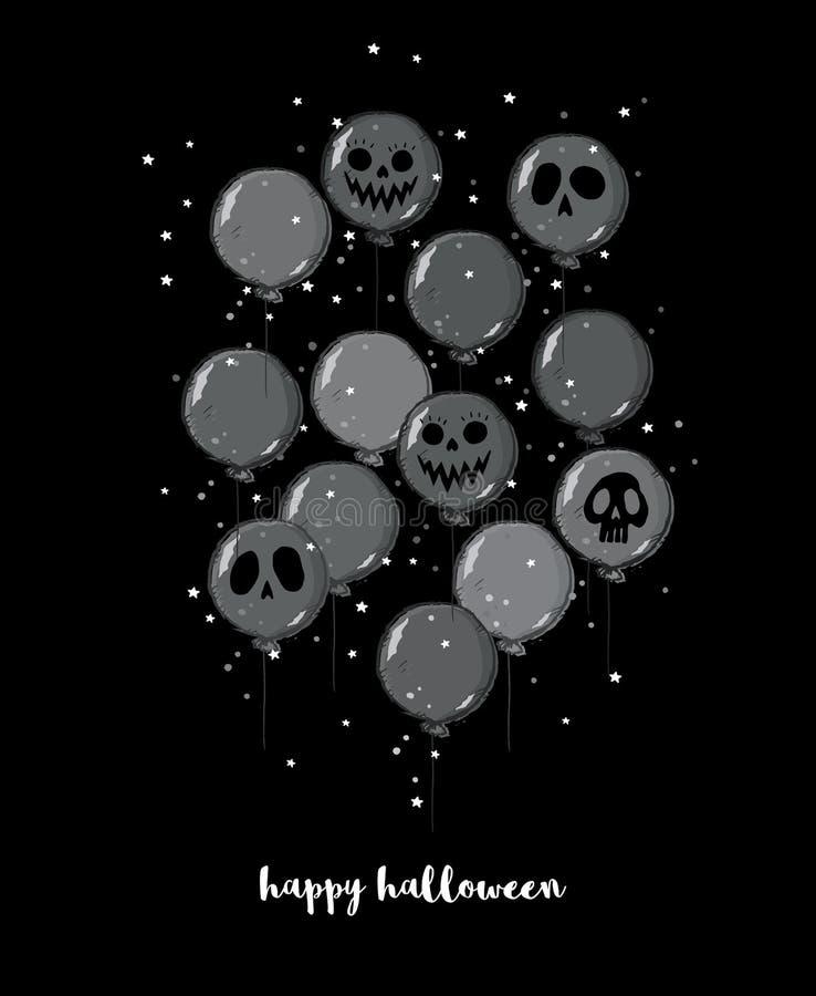 Ejemplo dibujado mano divertida del vector de Halloween Grey Balloons oscuro asustadizo con las caras del fantasma libre illustration