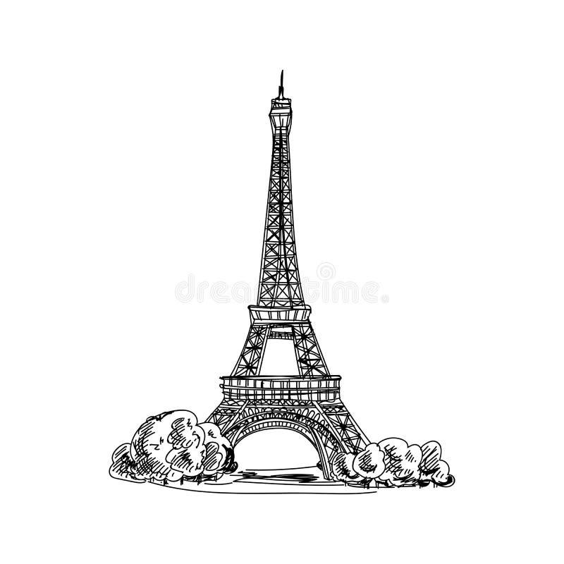 Ejemplo dibujado mano hermosa de la arquitectura de Francia del vintage del vector libre illustration