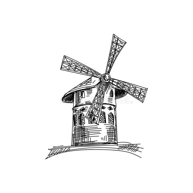 Ejemplo dibujado mano hermosa de la arquitectura de Francia del vintage del vector stock de ilustración