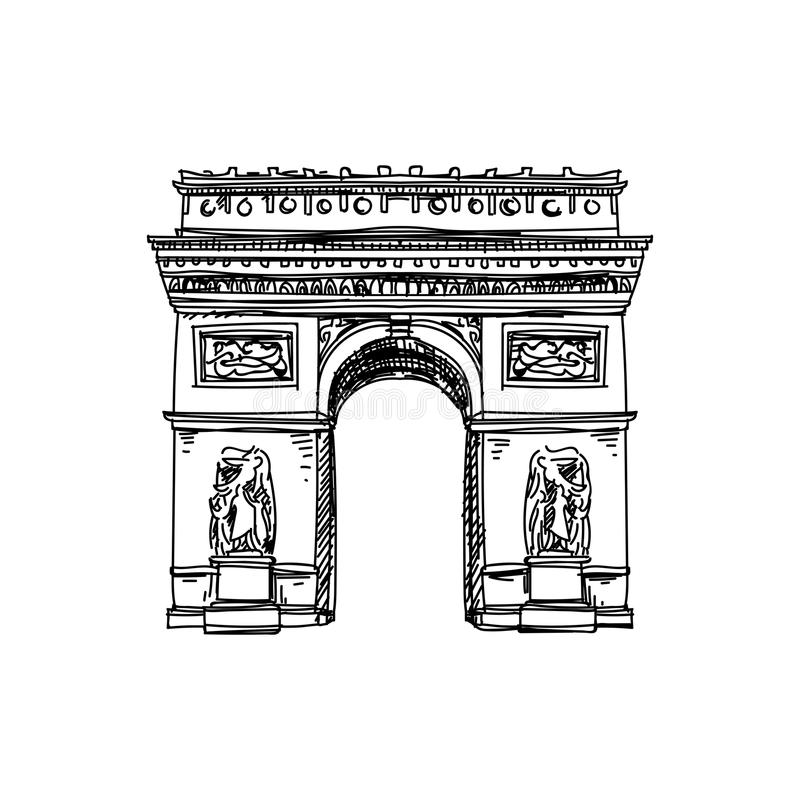 Ejemplo dibujado mano hermosa de la arquitectura de Francia del vintage del vector ilustración del vector