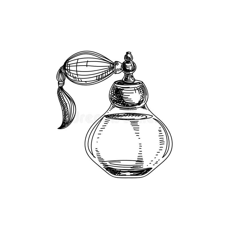 Ejemplo dibujado mano hermosa de la botella de perfume del vintage del vector ilustración del vector