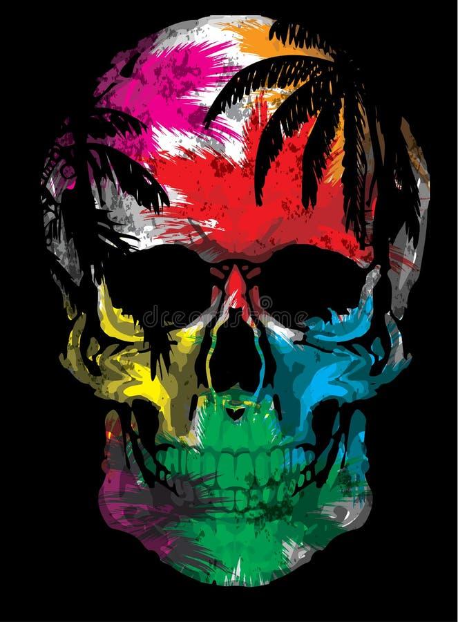 Ejemplo dibujado mano hermosa del bosquejo el cráneo en el fondo de la acuarela stock de ilustración
