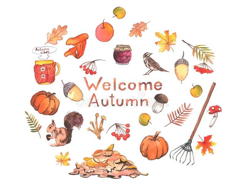 Ejemplo dibujado mano hermosa del otoño de la acuarela imagen de archivo
