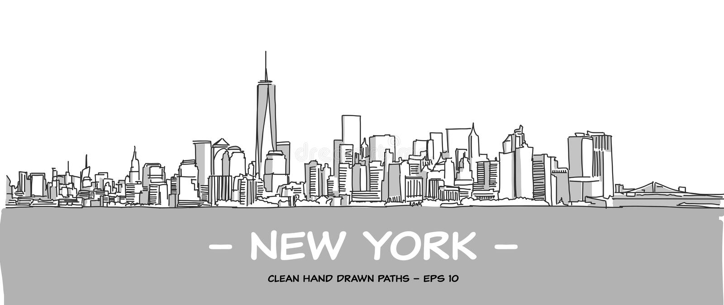 Ejemplo dibujado mano limpia del vector de New York City stock de ilustración